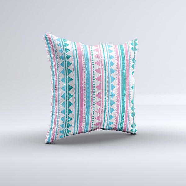 The Pink Green Teal Vertical Pattern ink-Fuzed Decorative Throw Pillow