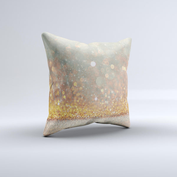 The Pink and Gold Shimmering Lights ink-Fuzed Decorative Throw Pillow