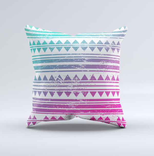 The Pink to Green Gradient Hipster Pattern ink-Fuzed Decorative Throw Pillow