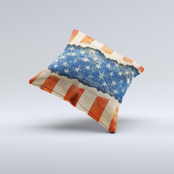 Scratched Surface Peeled American Flag  Ink-Fuzed Decorative Throw Pillow