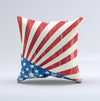 Vintage Tan American Flag  Ink-Fuzed Decorative Throw Pillow