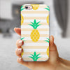 Pineapple Over Apricot Stripes iPhone 6/6s or 6/6s Plus 2-Piece Hybrid INK-Fuzed Case