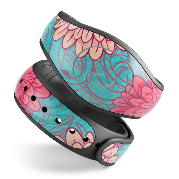 Pink & Blue Floral Illustration - Decal Skin Wrap Kit for the Disney Magic Band