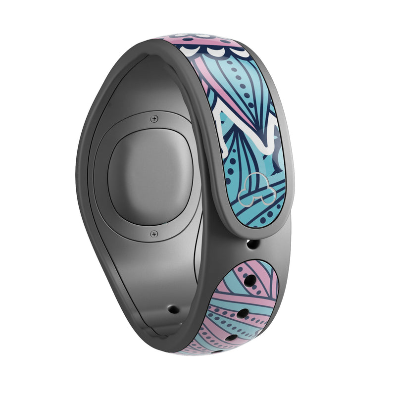 Pink & Blue Flowered Pattern - Decal Skin Wrap Kit for the Disney Magic Band