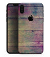 Pink & Blue Grunge Wood Planks - iPhone XS MAX, XS/X, 8/8+, 7/7+, 5/5S/SE Skin-Kit (All iPhones Available)
