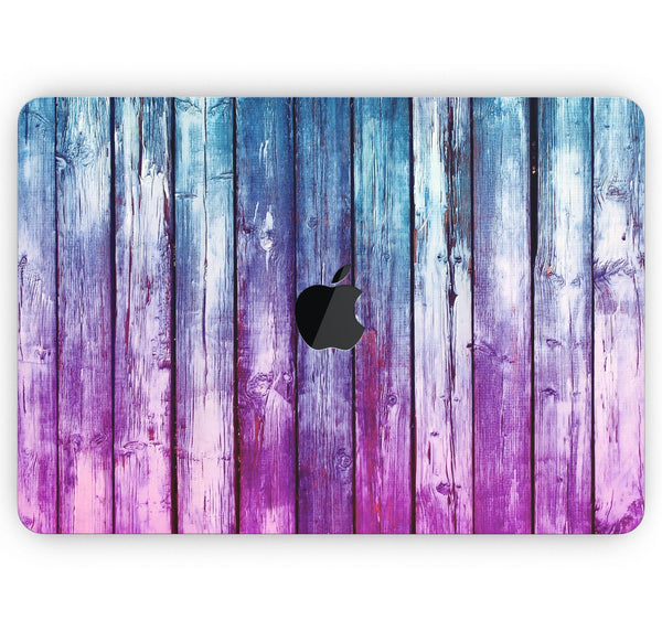 "Pink & Blue Dyed Wood - Skin Decal Wrap Kit Compatible with the Apple MacBook Pro, Pro with Touch Bar or Air (11"", 12"", 13"", 15"" & 16"" - All Versions Available)"