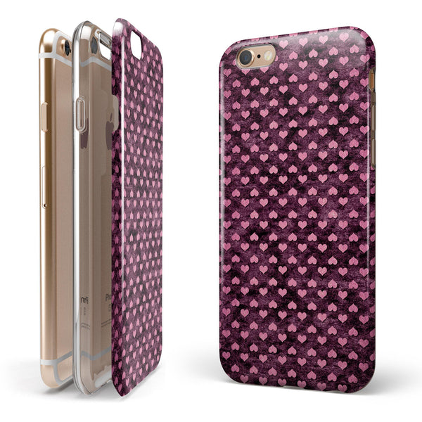 Pink Faded Micro Hearts Over Fuscia  iPhone 6/6s or 6/6s Plus 2-Piece Hybrid INK-Fuzed Case
