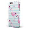 Pink Flamingos Over Blue Stripes iPhone 6/6s or 6/6s Plus 2-Piece Hybrid INK-Fuzed Case