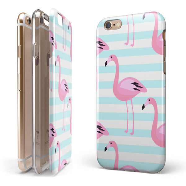 Pink Flaminogos Over Teal Stripes iPhone 6/6s or 6/6s Plus 2-Piece Hybrid INK-Fuzed Case