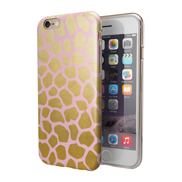 Pink Gold Flaked Animal v1 iPhone 6/6s or 6/6s Plus 2-Piece Hybrid INK-Fuzed Case