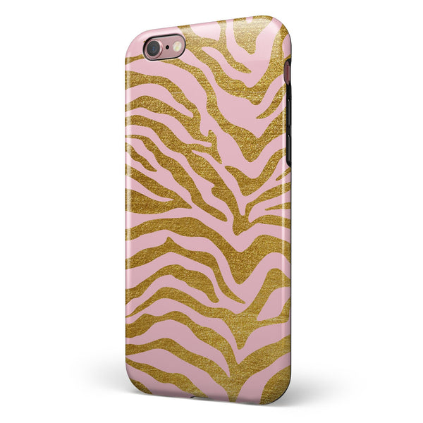 Pink Gold Flaked Animal v4 iPhone 6/6s or 6/6s Plus 2-Piece Hybrid INK-Fuzed Case