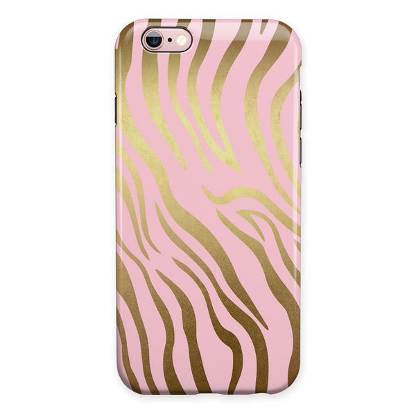 Pink Gold Flaked Animal v5 iPhone 6/6s or 6/6s Plus 2-Piece Hybrid INK-Fuzed Case