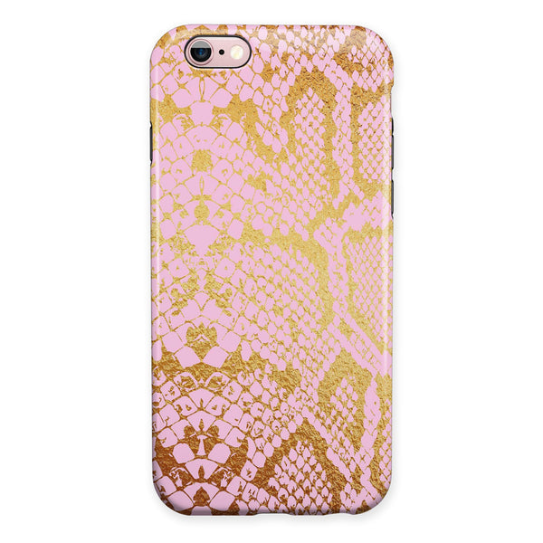 Pink Gold Flaked Animal v6 iPhone 6/6s or 6/6s Plus 2-Piece Hybrid INK-Fuzed Case
