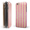 Pink Vertical Stripes Over Orange iPhone 6/6s or 6/6s Plus 2-Piece Hybrid INK-Fuzed Case