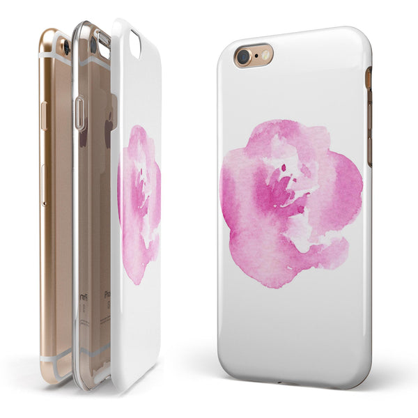 Pink Watercolor Hawaiian Flower iPhone 6/6s or 6/6s Plus 2-Piece Hybrid INK-Fuzed Case