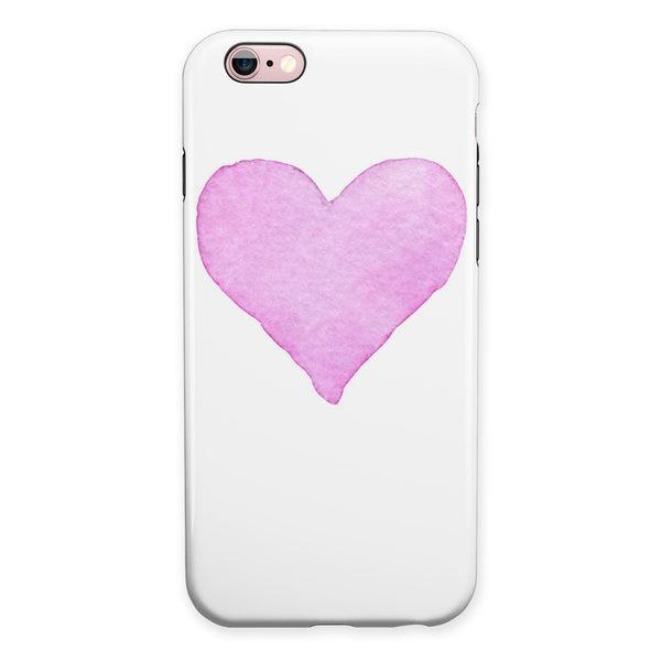 Pink Watercolor Heart iPhone 6/6s or 6/6s Plus 2-Piece Hybrid INK-Fuzed Case