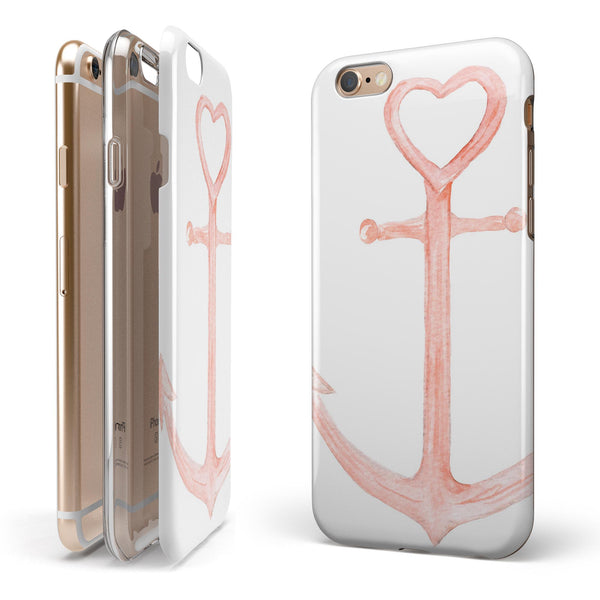 Pink Watercolor Heart Anchor iPhone 6/6s or 6/6s Plus 2-Piece Hybrid INK-Fuzed Case