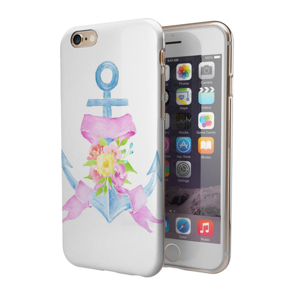 Pink Watercolor Ribbon Over Anchor iPhone 6/6s or 6/6s Plus 2-Piece Hybrid INK-Fuzed Case