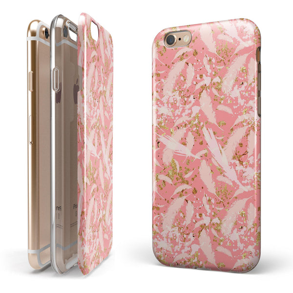 Pink Waterstrokes Over Scattered Gold iPhone 6/6s or 6/6s Plus 2-Piece Hybrid INK-Fuzed Case