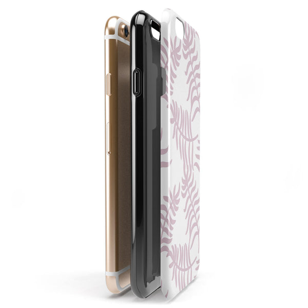 Pink Wavy Leaves Pattern iPhone 6/6s or 6/6s Plus 2-Piece Hybrid INK-Fuzed Case