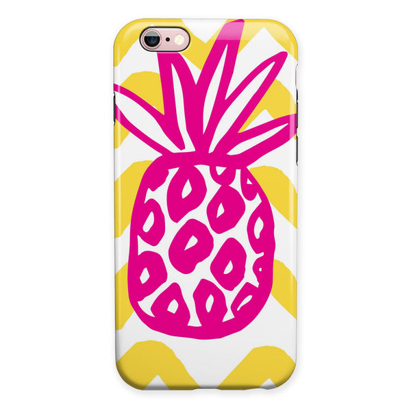 Pink and Yellow Pineapple iPhone 6/6s or 6/6s Plus 2-Piece Hybrid INK-Fuzed Case