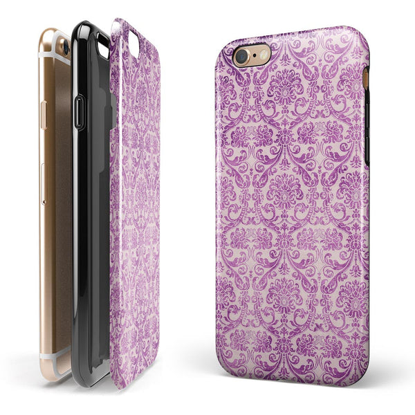 Purple Damask Grunge Pattern  iPhone 6/6s or 6/6s Plus 2-Piece Hybrid INK-Fuzed Case