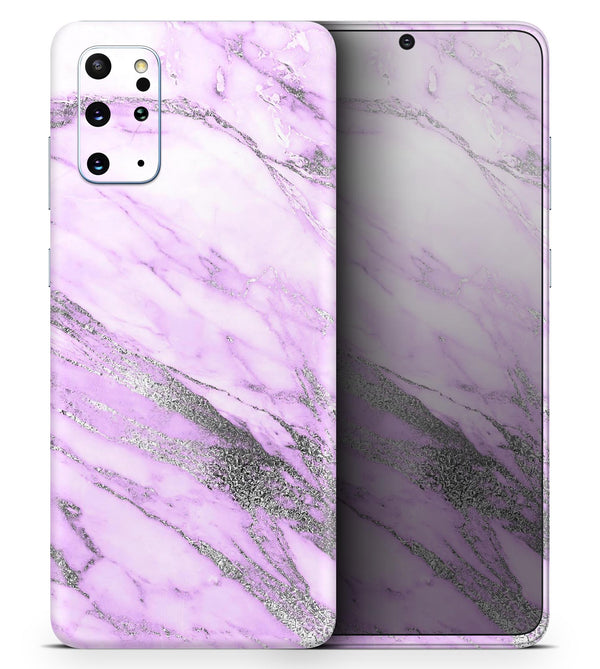 Purple Marble & Digital Silver Foil V10 2 - Skin-Kit for the Samsung Galaxy S-Series S20, S20 Plus, S20 Ultra , S10 & others (All Galaxy Devices Available)