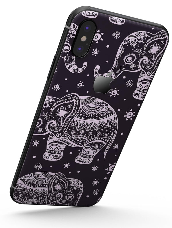 Purple Sacred Elephant Pattern - iPhone X Skin-Kit