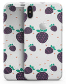 Purple Strawberries All Over Pattern - iPhone X Skin-Kit