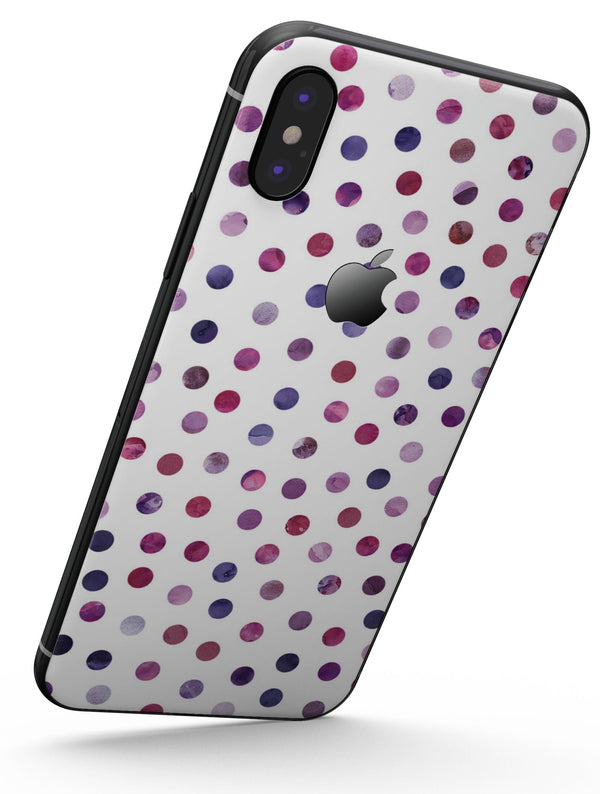 Purple Watercolor Dots over White - iPhone X Skin-Kit