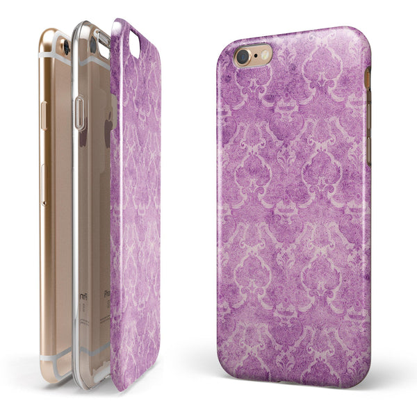 Purple Watercolor Inflated Damask Pattern iPhone 6/6s or 6/6s Plus 2-Piece Hybrid INK-Fuzed Case