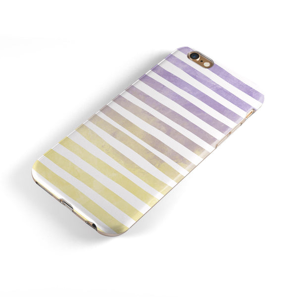 Purple to Yellow WaterColor Ombre Stripes iPhone 6/6s or 6/6s Plus 2-Piece Hybrid INK-Fuzed Case