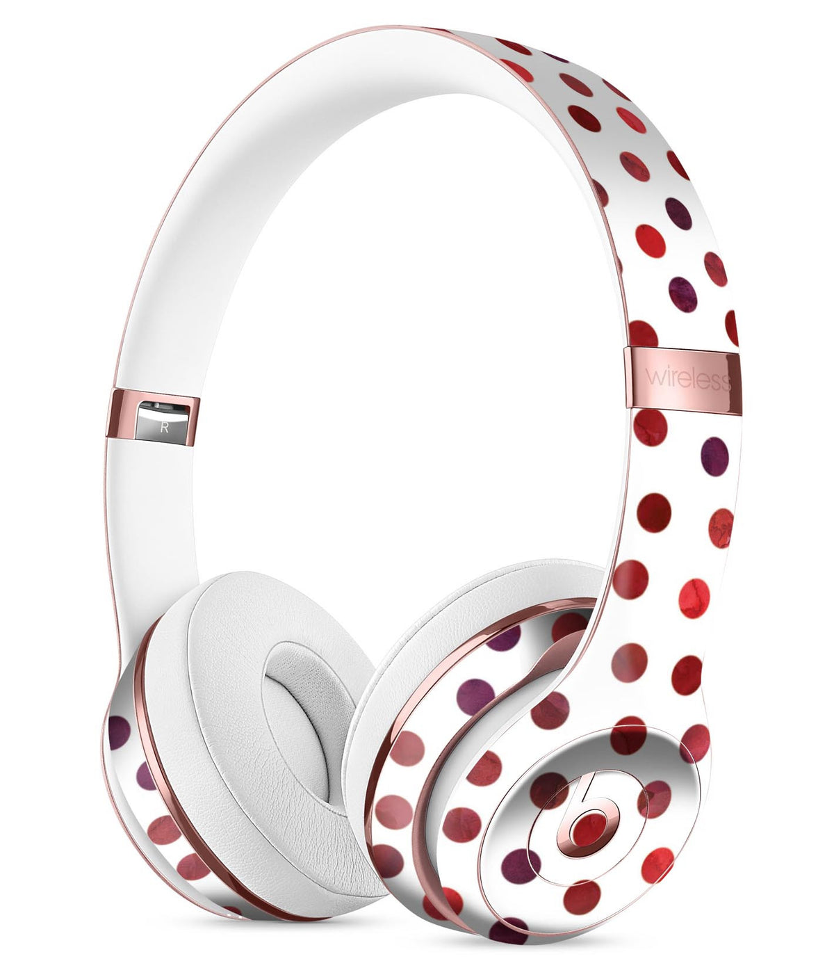 3b098a0bbbd Red Watercolor Dots over White Full-Body Skin Kit for the Beats by Dre -  DesignSkinz