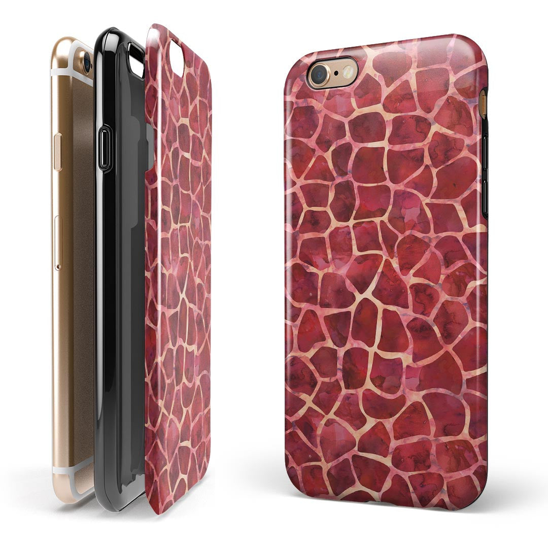 Red Watercolor Giraffe Pattern iPhone 6/6s or 6/6s Plus 2-Piece Hybrid INK-Fuzed Case