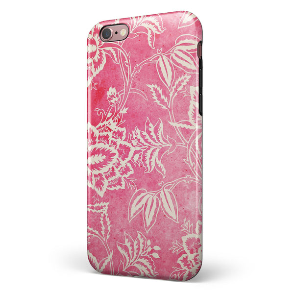 Red and White Floral Damask Pattern iPhone 6/6s or 6/6s Plus 2-Piece Hybrid INK-Fuzed Case