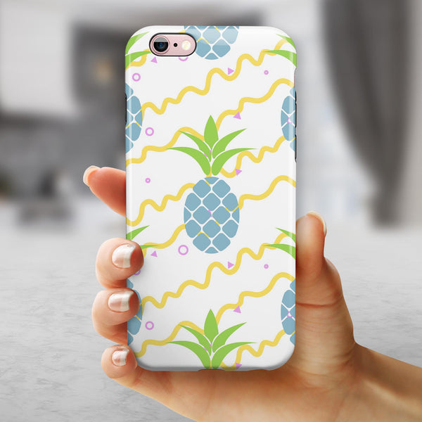 Retro Blue Pineapples iPhone 6/6s or 6/6s Plus 2-Piece Hybrid INK-Fuzed Case