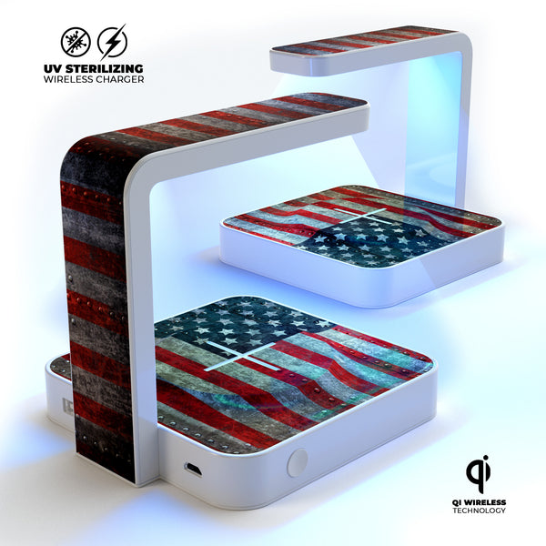Riveted Metal American Flag USA UV Germicidal Sanitizing Sterilizing Wireless Smart Phone Screen Cleaner + Charging Station