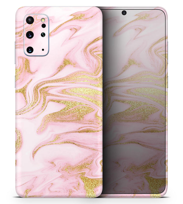 Rose Pink Marble & Digital Gold Frosted Foil V11 2 - Skin-Kit for the Samsung Galaxy S-Series S20, S20 Plus, S20 Ultra , S10 & others (All Galaxy Devices Available)