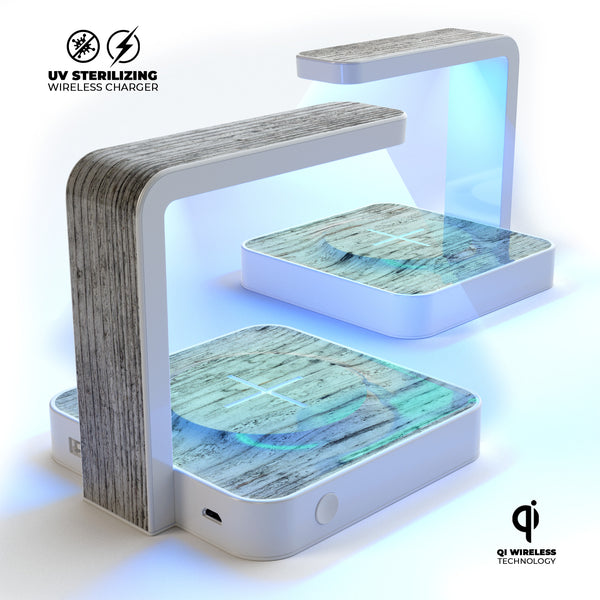 Rough White Wood UV Germicidal Sanitizing Sterilizing Wireless Smart Phone Screen Cleaner + Charging Station