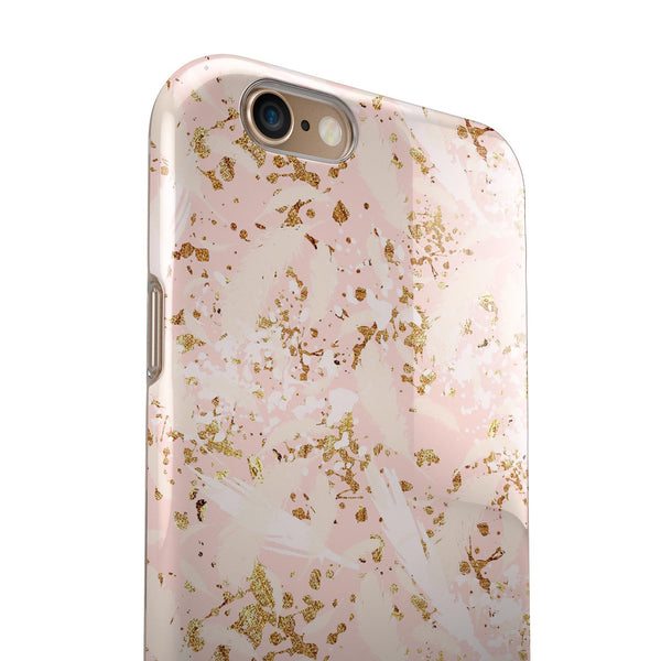 Scattered Gold Strokes Over Pink iPhone 6/6s or 6/6s Plus 2-Piece Hybrid INK-Fuzed Case