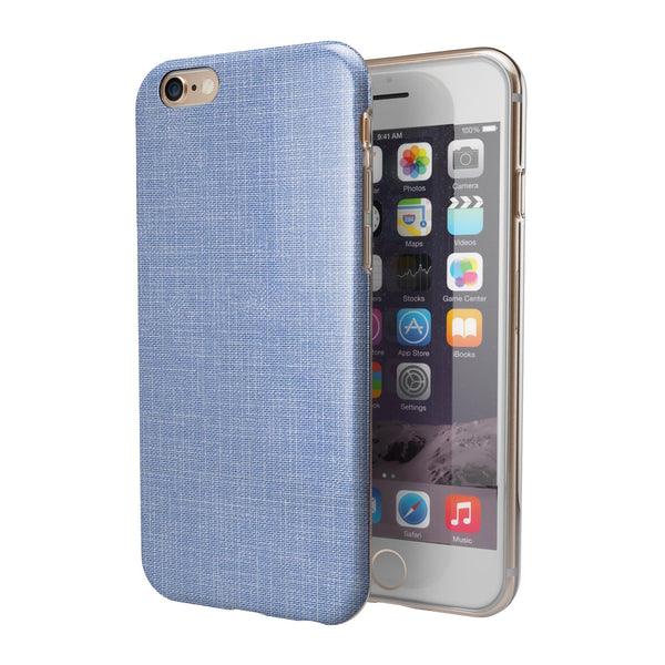 Scratched Blue Fabric Pattern iPhone 6/6s or 6/6s Plus 2-Piece Hybrid INK-Fuzed Case
