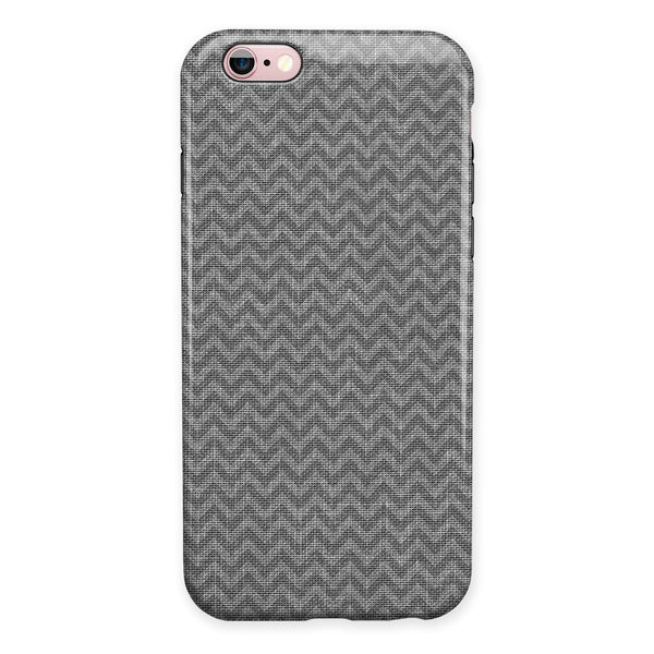 Scratched Chevron Over Gray Fabric iPhone 6/6s or 6/6s Plus 2-Piece Hybrid INK-Fuzed Case