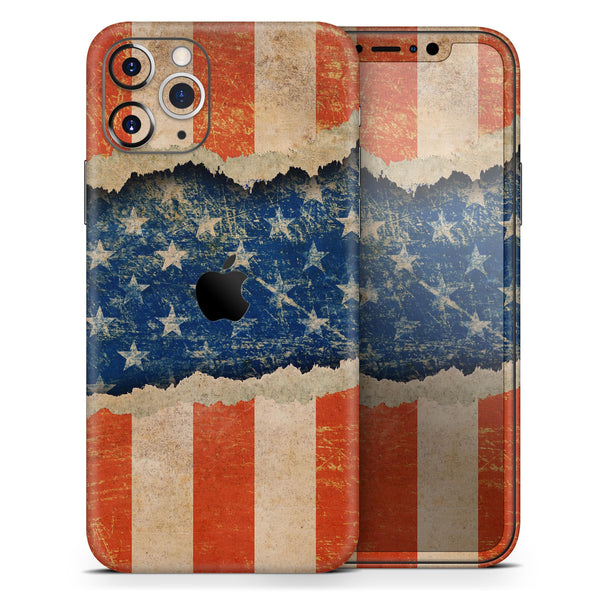 Scratched Surface Peeled American Flag - Skin-Kit for the Apple iPhone 11, 11 Pro or 11 Pro Max