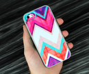 The Abstract Blue and Green Triangle Aztec Skin Set for the iPhone 5-5s Skech Glow Case