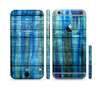 The Grungy Dark Blue Washed Wood Sectioned Skin Series for the Apple iPhone 6 Plus