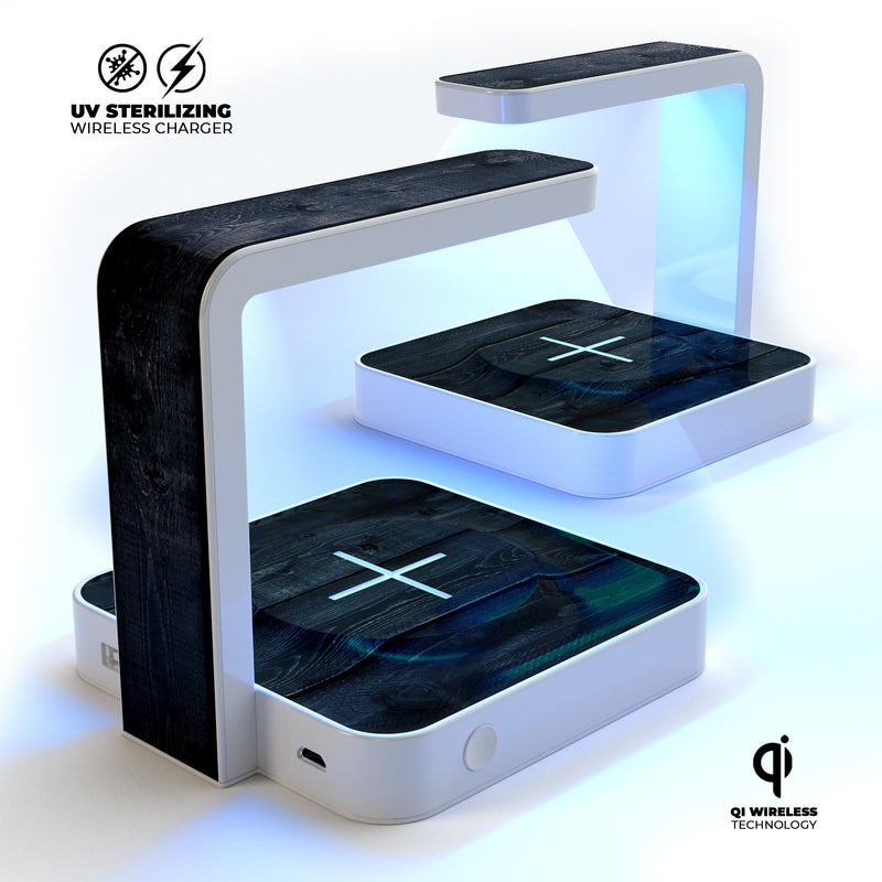 Shades of Black Vintage Wood UV Germicidal Sanitizing Sterilizing Wireless Smart Phone Screen Cleaner + Charging Station