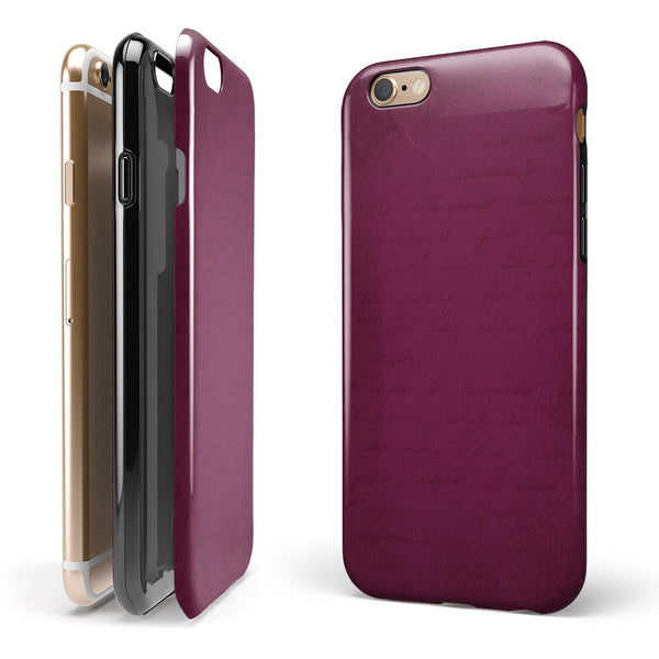 Shades of Burgundy Over Vintage Script iPhone 6/6s or 6/6s Plus 2-Piece Hybrid INK-Fuzed Case