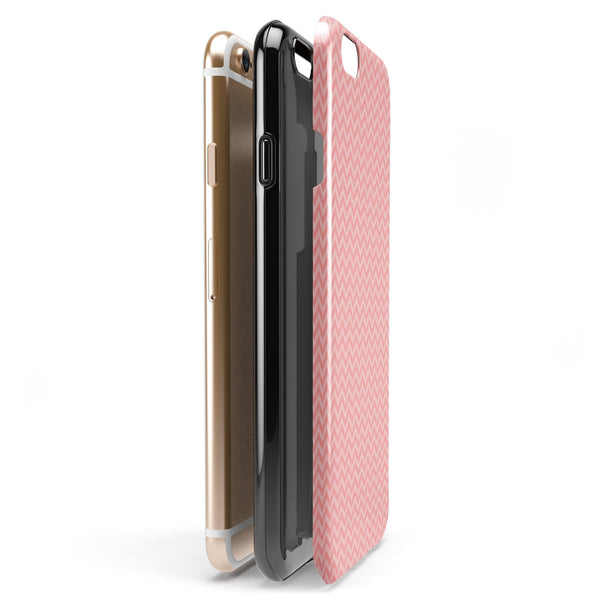 Shades of Coral Chevron Pattern iPhone 6/6s or 6/6s Plus 2-Piece Hybrid INK-Fuzed Case
