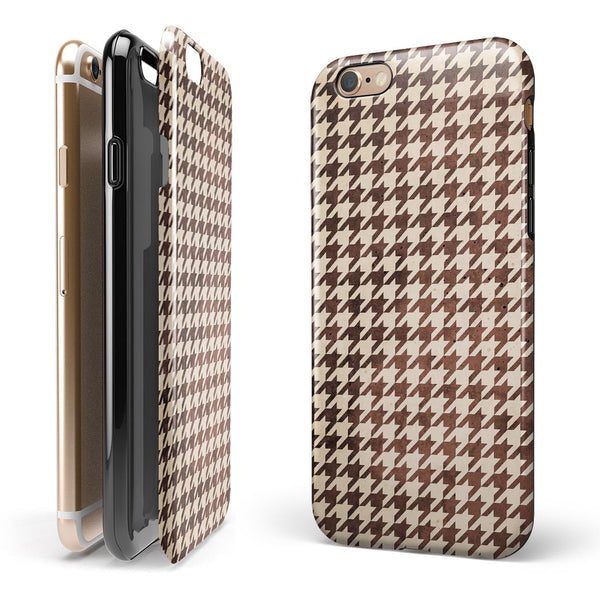 Sharp Brown and Tan Pattern iPhone 6/6s or 6/6s Plus 2-Piece Hybrid INK-Fuzed Case