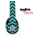 Turquoise Black and Gray Chevron Pattern Skin for the Beats by Dre Solo, Studio, Wireless, Pro or Mixr